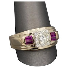 Men's Classic Ruby and Diamond Ring in 14k Yellow Gold Size 14