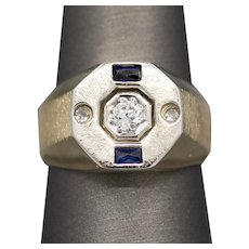 Men's Sapphire and Old European Cut Diamond Signet Style Ring in 14k White and Yellow Gold