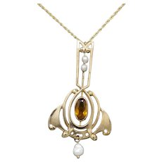 Art Nouveau Lavalier Necklace with Citrine and Pearls in 14k Yellow Gold