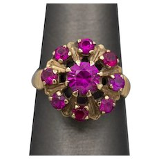 Late Victorian Created Pink Sapphire Cluster Ring in 10k Yellow Gold