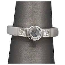 Handcrafted Rose Cut Diamond Engagement Ring with Round Diamond Accents in Brushed 14k White Gold