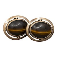 Victorian Tiger's Eye Classic Cuff Links in 10k Rose Gold