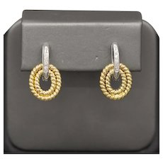 Striking Diamond and Twisted Loop Two Tone Earrings in 18k Yellow and White Gold