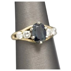 Lovely Parti Colored Teal Sapphire and Diamond Ring in Yellow Gold