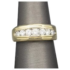 Classic Diamond Seven Stone Wedding Band Ring in 14k Yellow Gold