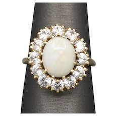 Beautiful Opal and White Topaz Cocktail Ring in 14k Yellow Gold