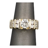 Gorgeous Sparkling Tension and Channel Set Diamond Wedding Ring in 14k Yellow Gold