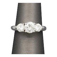 Brilliant Three Stone Diamond Ring in 14k White Gold