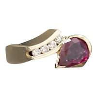 Unique Pear Cut Ruby and Channel Set Diamond Snake Ring in 14k Yellow Gold