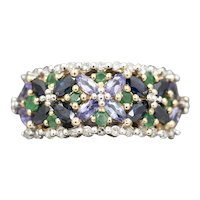 Unique Floral Design Band Ring with Sapphires Emeralds Diamonds and Tanzanite in 14k Yellow Gold