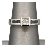 Invisible Set Princess Cut Diamond and Channel Set Sapphire Ring in 14k White Gold