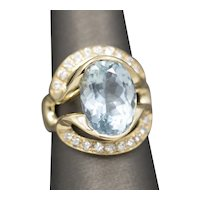 Brilliant Aquamarine and Diamond Cocktail Ring in 14k Yellow Gold