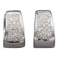 Pave' Diamond Huggie Hoop Earrings in 18k White Gold