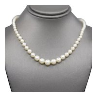 """Classic Graduated Akoya Pearl Necklace with Old European Cut Diamond Clasp 18"""""""