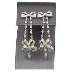 Vintage Diamond Dangle Bow Ribbon Earrings in Platinum