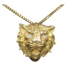 Fierce Diamond Eyed Roaring Lion Head Pendant in Solid 14k Yellow Gold