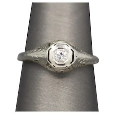 Art Deco Transitional Cut Diamond Engagement Ring in 14k White Gold