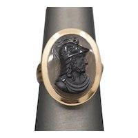 Antique Victorian Hardstone Cameo of Ancient Soldier Ring in 14k Rose Gold