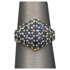 Pave' Blue Sapphire Band Ring in 14k Yellow Gold
