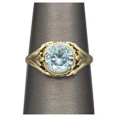 Antique Victorian Blue Zircon Bezel Set Ring in 14k Yellow Gold