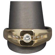 Men's Semi-Bezel Set Diamond Band Ring in Rich 14k Yellow Gold