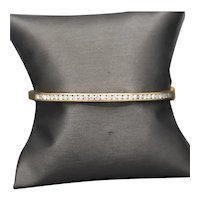 Channel Set Diamond Hinged Oval Bangle Bracelet in 14k Yellow Gold