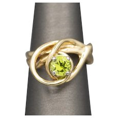 Mesmerizing Modern Peridot Abstract Statement Ring in 14k Yellow Gold