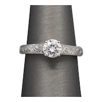 Forever One Charles & Colvard Moissanite Solitaire Engagement Ring in Engraved 14k White Gold with Box and Certificate