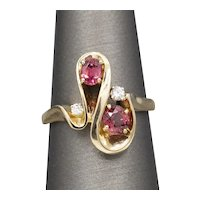 Sparkling Pink Peach Tourmaline and Diamond Abstract Cocktail Ring in 14k Yellow Gold