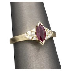 Gorgeous Marquise Cut Ruby and Diamond Accent Ring in 14k Yellow Gold