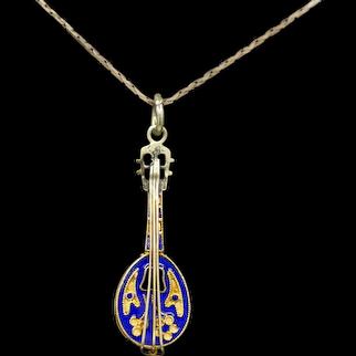18k Yellow Gold and Blue Enamel Mandolin Pendant or Charm