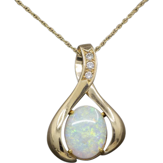 Fiery Opal and Diamond Slide Pendant Necklace in 14k Yellow Gold