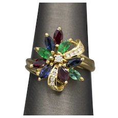 Rich Emerald Ruby Sapphire and Diamond Spray Cocktail Ring in 18k Yellow Gold
