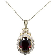 Gorgeous Garnet and Diamond Accent Pendant Necklace in 10k Yellow Gold