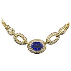 Superb Tanzanite and Pave' Diamond Necklace in 18k Yellow Gold by Unoaerre