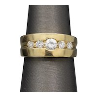 Lovely Low Profile Diamond Band Ring in 18k Yellow Gold