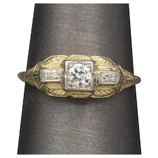 Art Deco Two Tone Old European Cut Diamond Solitaire Engagement Ring in 14k White and Yellow Gold