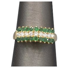 Rich Emerald and Diamond Chevron Pyramid Band Ring in 14k Yellow Gold