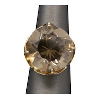 Bold and Brilliant Smoky Quartz Vintage Cocktail Ring in 14k Yellow Gold