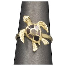 14k Sea Turtle Ring with Mother of Pearl Inlay Shell