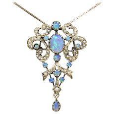 Superb Victorian Revival Blue Opal and Seed Pearl Pendant in 14k Yellow Gold