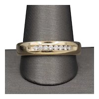 Classic Men's Channel Set Round Diamond Wedding Band Ring in 14k Yellow Gold