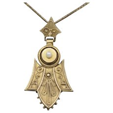 Victorian Seed Pearl and Cannetille Fluted Pendant in 14k Yellow Gold