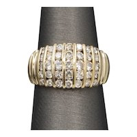 Channel Set Domed Diamond Band Ring in 14k Yellow Gold