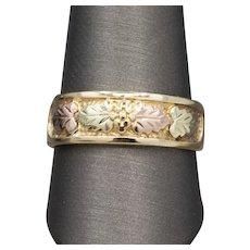 Men's 7.5mm Black Hills Gold Wedding Band Ring in 10k by Landstrom