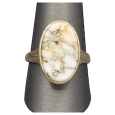 Exquisite Victorian Gold in Quartz Cocktail Ring in 14k Yellow Gold,