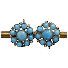 Victorian Turquoise Glass Bead Flower Shepherd's Hook Earrings in 14k Rosy Gold