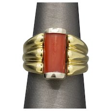 Bold Mid-Century Two Tone Coral Statement Ring in 18k White and Yellow Gold by Basile