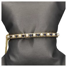 Victorian Revival Sapphire and Pearl Engraved Hinged Bangle Bracelet with Safety Catch and Safety Chain in 14k Yellow Gold