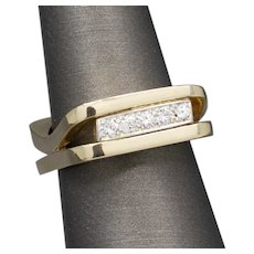 Modernist Geometric Diamond Band Ring with Square Split Shank in 14k Yellow Gold